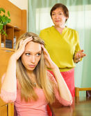 Daughter and senior mother after quarrel — Stock Photo