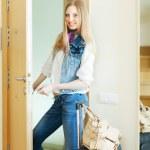 Blonde positive woman looking door — Stock Photo #50942285