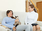 Mother and  daughter with cat — Stock Photo