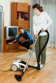 Family  couple doing housework — Stock Photo