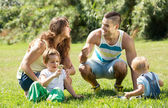 Family of four in sunny park — Stock Photo