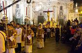 Prozession während der semana santa in murcia — Stockfoto