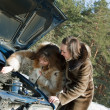 Women trying to fix the car — Stock Photo #6042659