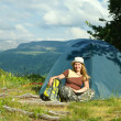 Camping happy woman — Stock Photo #8095533