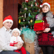 Family in christmas hats — Stock Photo #9004548