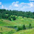 Green hills and trees on blue sky background — Foto de Stock