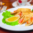 Royalty-Free Stock Photo: Pancakes with a salmon on plate salad and lemon