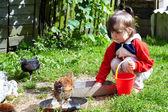 Ragazza alimentazione polli — Foto Stock