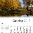 2013 Calendar. October. — Stock Photo