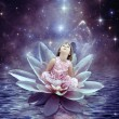 Thumbelina sitting in lilly — Stock Photo