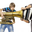 Fun boys enjoy with a trumpet — Stock Photo