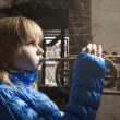 The young blonde with the Cornet — Stock Photo