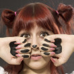 Girl with art make-up animal — Stock Photo #13496477