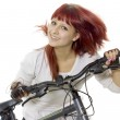 Stock Photo: Girl leads bicycle
