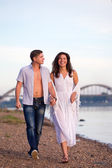 Couple near river — Stock Photo
