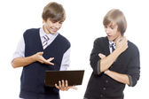 Two guys look the computer — Stock Photo