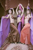 Three dancers oriental dance — Stock Photo