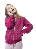 Girl speaking on the telephone a over white background — Stock Photo