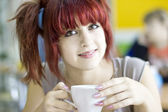Happy Tea Drinker — Stock Photo