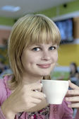 Happy Tea Drinker — Stock Photo