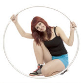 Girl with hula hoop — Stock Photo