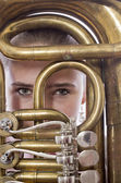 Girl with horn instrument — Stock Photo