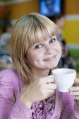 Girl with  cup of coffee — Stock Photo