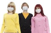 Teenagers in respirator — Photo