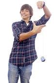 Boy with spool of thread — Stock Photo