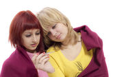 Sick girls with thermometer — Foto de Stock