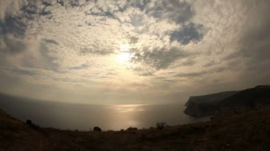 Clouds over the sea with fisheye view (Time Lapse) — Vídeo Stock