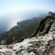 Fisheye view from the mountains to the Black Sea Crimea, Ukraine — Stock Photo