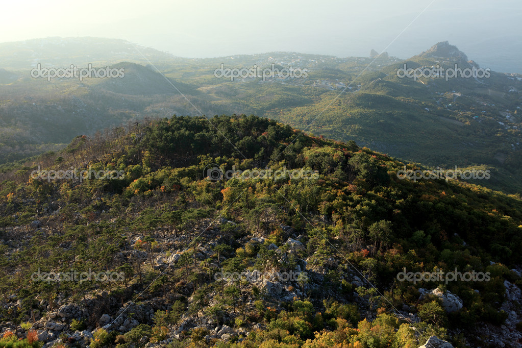 View from the mountains to the Black Sea Crimea, Ukraine — Stock Photo #13899329