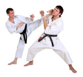 Karate. Men in a kimono with a white background — Stock Photo