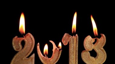 Happy New Year 2013, candles burning, time lapse — Stok video
