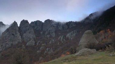 Timelapse sunset in the mountains Demerdji. Alushta, Crimea, Ukraine — Stock Video