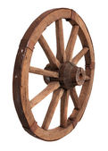 Old wooden wheel on the white background — Stock Photo