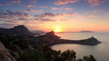 Timelapse sunrise in the mountains. Noviy Svet, Crimea, Ukraine — Stock Video
