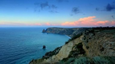 Timelapse sunrise in the mountains. Cape Fiolent, Crimea, Ukraine. FULL HD — Stock Video