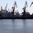 Ship to unload at a sea port. Odessa, Ukraine (Time Lapse) — Stock Video
