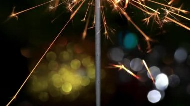 Christmas tree, mirror ball and lit sparkler, FULL HD — Vídeo de stock