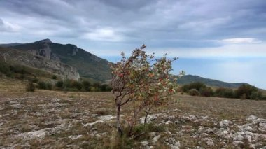 Movement of the clouds on the mountain Merdven-Kayasy. Crimea, Ukraine (TimeLapse) FULL HD — Stock Video