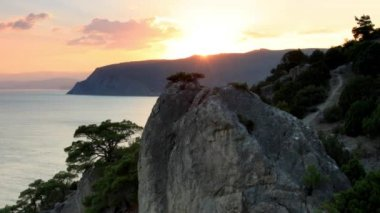 Timelapse sunset in the mountains. Noviy Svet, Crimea, Ukraine — Stock Video