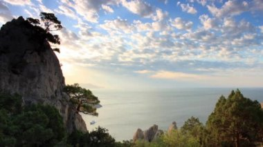 Cloudy sky over the mountains and the sea. Noviy Svet, Crimea, Ukraine — Stock Video
