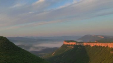 Timelapse sunrise in the mountains. Cave city Tepe-Kerman, Crimea, Ukraine VI-XIV centuries — Stock Video