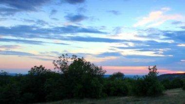 Timelapse sunset in the mountains. Cave city Chufut-Kale, Crimea, Ukraine VI-XIV centuries — Stock Video