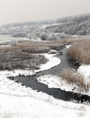 Winter scenic of the River Kalynova, Makeevka — Stock Photo