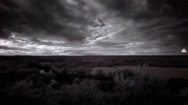 InfraRed landscape: Movement of clouds over the river Seversky Donets. FULL HD — Stock Video