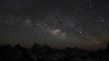 Time lapse of stars behind mountains Everest, Lhotse and Makalu from Gokyo Ri — Stock Video