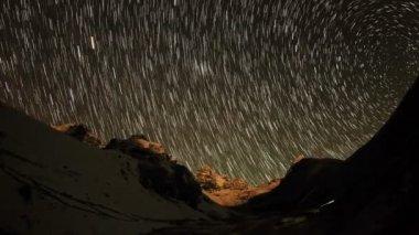 Time lapse of stars behind mountains Kyajo, Pharilapche, Machhermo Glacier — Stock Video
